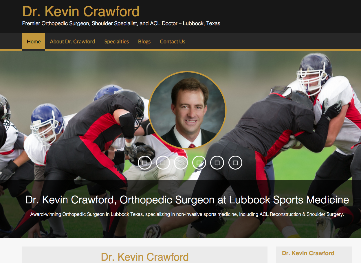 Dr. Kevin Crawford website by eForce Marketing, Tucson Websites